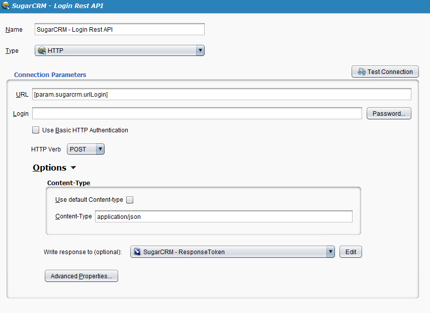REST Transformation - Sugar CRM - Request Session Token - Jitterbit